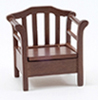 Dollhouse Miniature Garden Chair, Walnut