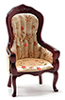 Victorian Gent's Chair, Mahogany Floral Fabric