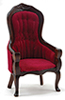 Victorian Gent's Chair, Walnut W/Red Velour Fabric