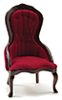Victorian Lady's Chair, Walnut W/Red Velour Fabric