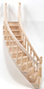 Dollhouse Miniature Stairs, 2-Rail, Right Curve, Assembled