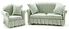 Sofa and Chair Set, Green & White Check