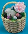 Dollhouse Miniature  White Basket with Bunny