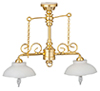 2-Arm Ornate Chandelier White Shades