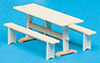 Dollhouse Miniature Trestle Table & Benches Kit