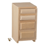 Dollhouse Miniature 1.5 In Base Cab., 4 Drawer, Kit