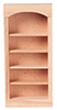 Dollhouse Miniature Bookcase 1-Section 5-Shelf Unit