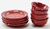 Dollhouse Miniature Red Enamel Dishes, 8Pc