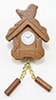 Dollhouse Miniature Wooden Cuckoo Clock, Brown