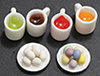 Dollhouse Miniature Easter Egg Coloring Set