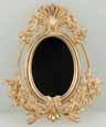 Dollhouse Miniature Mirror, Oval with Shell, Gold Color