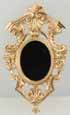 Dollhouse Miniature Large Mirror, Oval, Gold Color