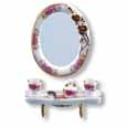 Dollhouse Miniature Reutter's Porcelain Fine Dollhouse Miniature Dresden Rose Bath Mirror Set