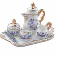 Dollhouse Miniature Reutter's Porcelain Fine Dollhouse Miniature Gold Blue Onion Tea Set