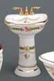 Dollhouse Miniature Reutter's Porcelain Fine Dollhouse Miniature Victorian Rose Bathroom Sink