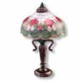 Dollhouse Miniature Reutter's Porcelain Fine Dollhouse Miniature Rose Shade Table Lamp