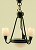 Dollhouse Miniature Black Americana Chandelier with Shades 12V