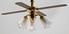 Dollhouse Miniature 3-Tulip Ceiling Fan
