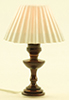 Dollhouse Miniature Table Lamp, White Pleated Shade
