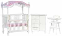 Dollhouse Miniature White Canopy Crib Set, S/3
