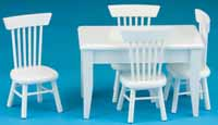 Dollhouse Miniature White Table-4 Chair Dining Set, S/5