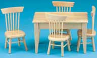 Dollhouse Miniature Oak Table-4 Chair Dining Set, S/5