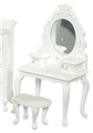 Dollhouse Miniature Vanity with Stool, White