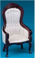 Dollhouse Miniature Victorian Gent's Chair, Mahogany, White Brocade
