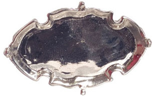 Dollhouse Miniature Silver Tray, 2In