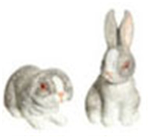 Dollhouse Miniature Rabbit Set Of 2, Light Gray
