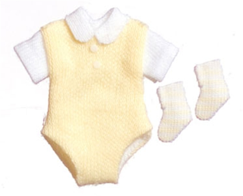 Dollhouse Miniature Baby Outfit W/Socks/Yellow