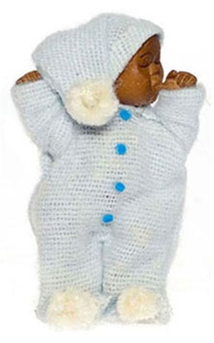 Dollhouse Miniature Brown Baby, Blue