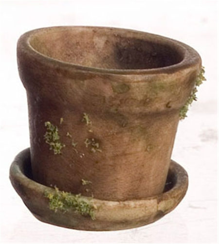Dollhouse Miniature T/C Pot Di 5/8In Aged Br W/Moss, 3Pc