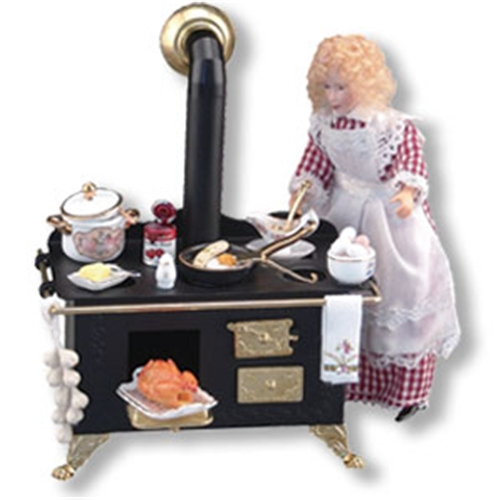 Dollhouse Miniature Reutter's Porcelain Fine Dollhouse Miniature Decorated Metal Stove Display