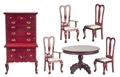 Dollhouse Miniature Dining Room Set, 6 pc, Mahogany