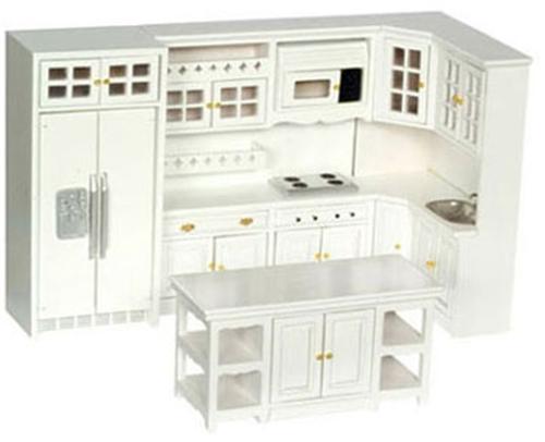 Dollhouse Kitchen Set 8 Pc White Azt5425 Just Miniature Scale