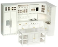 Dollhouse Miniature Kitchen Set, 8 Pc, White