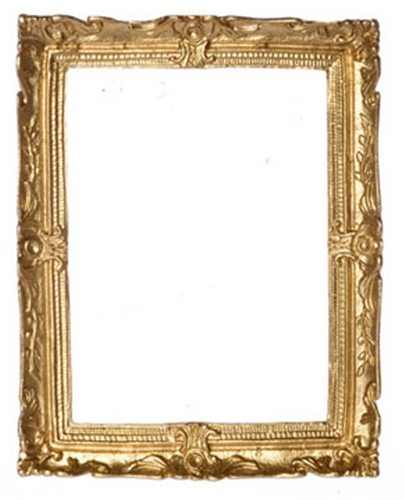 "Dollhouse Miniature Gold Plated  Frame, 2-5/8X3-1/4"" Scale"
