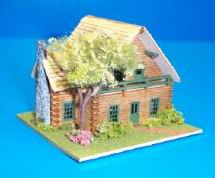 Dollhouse Miniature Log Cabin Lodge