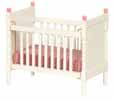 Dollhouse Miniature Crib, White with Pink Trim