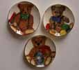 Dollhouse Miniature 3 Bright Toy Bear Plates
