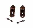 Dollhouse Miniature Opryland Door Handle Set with Key, Oiled Bronze 2 Pk