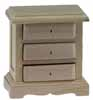 Dollhouse Miniature 3-Drawer Night Stand, Unfinished