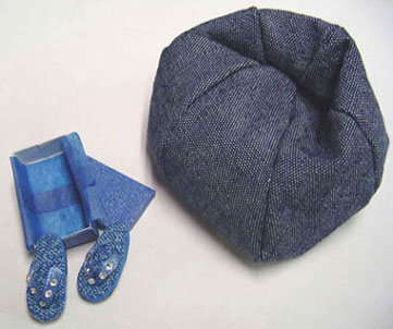 Dollhouse Miniature Bean Bag Chair and Flip Flops Denim