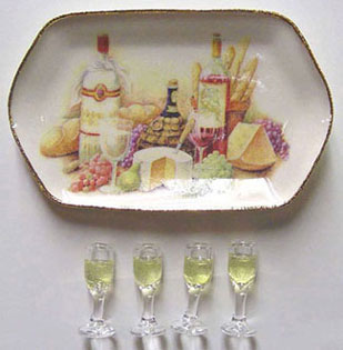 Dollhouse Miniature Ceramic Wine  & Cheese Tray