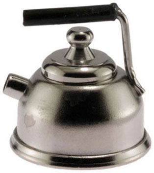 Dollhouse Miniature SilverTea Pot Kettle with Lid ~ IM65108