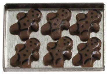 Dollhouse Miniature Gingerbread Man Cookies on a sheet