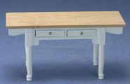 White Vermont Table With Oak Top