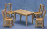 Dollhouse Miniature Table, 4 chairs, oak