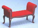 Dollhouse Miniature Settee, Mahogany with Red Velour Fabric